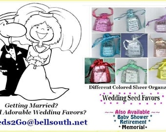 UR choice of 50 Colored Sheer Organza Wedding Favors with UR Choice of  Seeds Complete