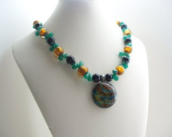 Circle Necklace,  Multicolor Glass Necklace