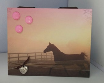 Sunset Horse with Silver Heart Magnetic Frame