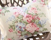 Vintage 1930s Custom Barkcloth Pillow with Soft Pink English Cabbage Roses & Blue Lilac Florals