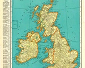 BRITISH ISLES and EUROPE 1935 Vintage Map Colliers World Atlas and Gazetteer