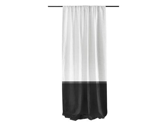 Color Block Curtain White Black Linen Window By Lovelyhomeidea