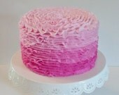 Pink Ombre Ruffle Fake Cake Photo Prop, Home Decor, Birthday Party Decorations, House Staging, Events, Bakery Shop Displays,