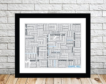 Chapel Hill Typography Map 8x10 Print