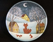 Original Folk Art Hand Painted Vintage Primitive Wood Bowl-Winter Scene with Red Foxes Overlooking a Village of Saltbox Houses