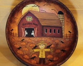 Folk Art Halloween Primitive Wood Bowl - MADE TO ORDER -Old Crow Farm Scarecrow Guards a Pumpkin Field, Two Ghosts Peek Out from an Old Barn