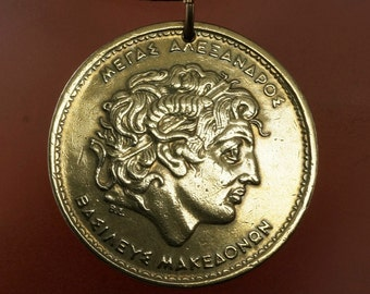GREECE Pendant - Greek Coin Jewelry  - Greece Coin -  Alexander The Great. -  mens jewelry. vintage.   No.00991