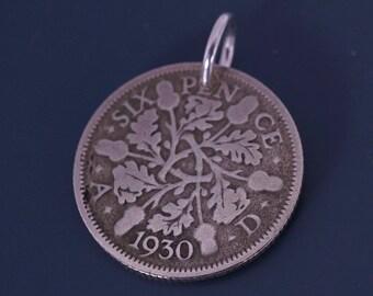 ANTIQUE SILVER sixpence charm. wedding coin. bridal . acorn  UK England  No.00521 3