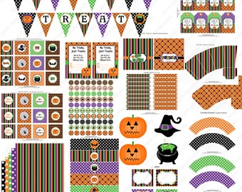 Instant Download  Sale 70% off  diy Spooktacular Soiree HALLOWEEN PRINTABLE Deluxe Party Package Cupcake Express