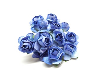 """Royal Blue Mini Paper Flower, Set of 12, 1/2"""" with 4"""" Stems"""