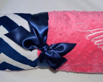 Chevron Baby Blanket - Minky Hot pink and Navy Blue - Monogrammed, Personalized Zig Zag