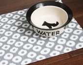 Pet Placemat in Grey with White Spots - Choose Large or Small Size