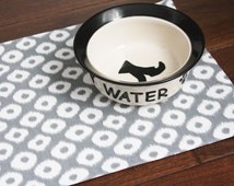 Pet Placemat in Grey or Raspberry with White Spots - Choose Large or Small Size