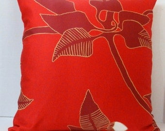 Marimekko Irmeli Fabric Pillow Cover Red, Cranberry, 18 x 18  inch with zipper closure