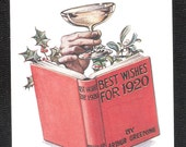 Champagne Best Wishes for 1920 unused old plain back antique vintage postcard