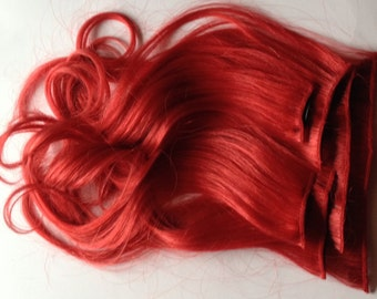 18 inch Bright Red 100% Human Hair Clip in or Tape Hair Extension Set