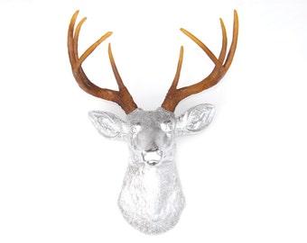 Chrome Deer Head - Deer Head Antlers Fake Taxidermy Wall Mount D1300