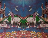 "Unicorns Rest Below Castle  - 10"" x 36"" fabric panel - batik applique from original - Custom printed fabric from batik"