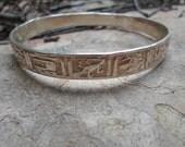 Sterling Silver Vintage Mexican Folk Art Bangle Bracelet