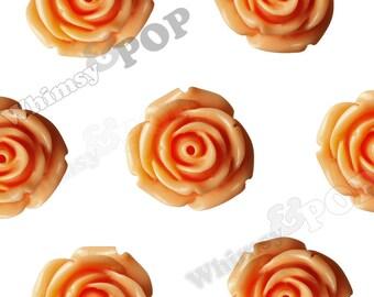 10 - Large Sorbet Orange Rose Cabochons, Flower Cabochons, 19mm Roses (R6-048)