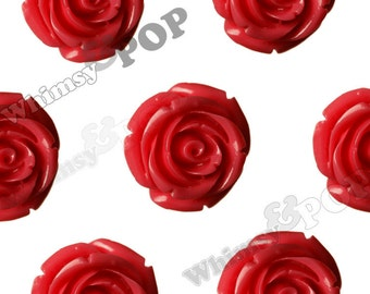 Large Red Rose Beads, Flower Beads, 21mm Flower Beads, Drilled Flowers (R7-079)