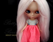 Reserve for Lynne /Doll hair/  Suri Alpaca hair/Reroot scalp/ for Blythe Doll in Light Pink  alpaca hair 13 inches long