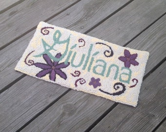 Handmade to Order - Custom Name Hand Hooked Rug