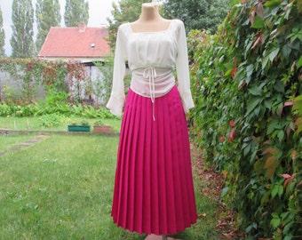 Long  Pleated Skirt / Skirt Vintage / Pink Pleated Skirt / Magenta Pleated Skirt  / Size EUR38 / UK10