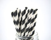 Black and White Striped Paper Straws with  DIY paper flags.