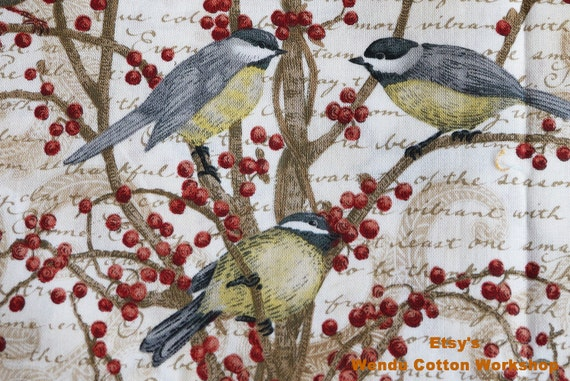 Winter Birds Berry Vine - Tim Coffey for SP - Cotton Fabric - 1 yard
