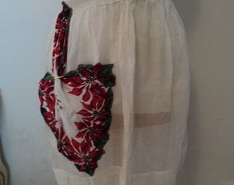 Vintage Christmas Apron with Floral Poinsettia Pocket Reduced price