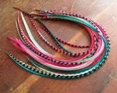 Feather Extensions Long Teal Mint Magenta Mermaid Hair Accessories Feathers, Hair Feather Extensions Grizzly and Solid Dyed