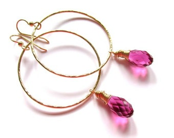 Gold Hammered Hoops, Pink Sparkling Swarovski Crystals,  Gift idea for Her, Wire Wrapped jewelry, Hoop Earrings, Holiday Fashion