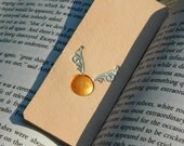 Leather Bookmark - Golden Snitch - Hand Carved and Tooled - Harry Potter - Hogwarts School of Magic Bookmark - Natural Leather