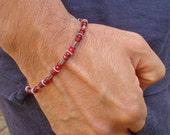Men's Minimalist Spiritual Love Bracelet with Semiprecious Red Garnet and Hematite, Love and Commitment Bracelet - David Beckham Bracelet