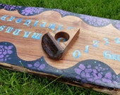 Ouija Board Abstract Floral Roses Purple BLue Gypsy Pagan Spirit Board With Planchette