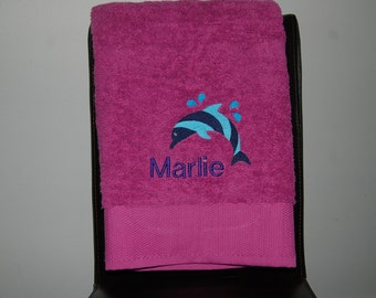 Personalized, Embroidered Bath Towel - Dolphin