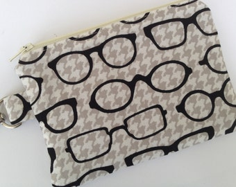 Glasses and Houndstooth Small Zippered Pouch