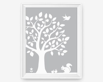 Kids Wall Art - Woodland Nursery Tree Wall Decor Art - Squirrel - Custom Color, Children Decor