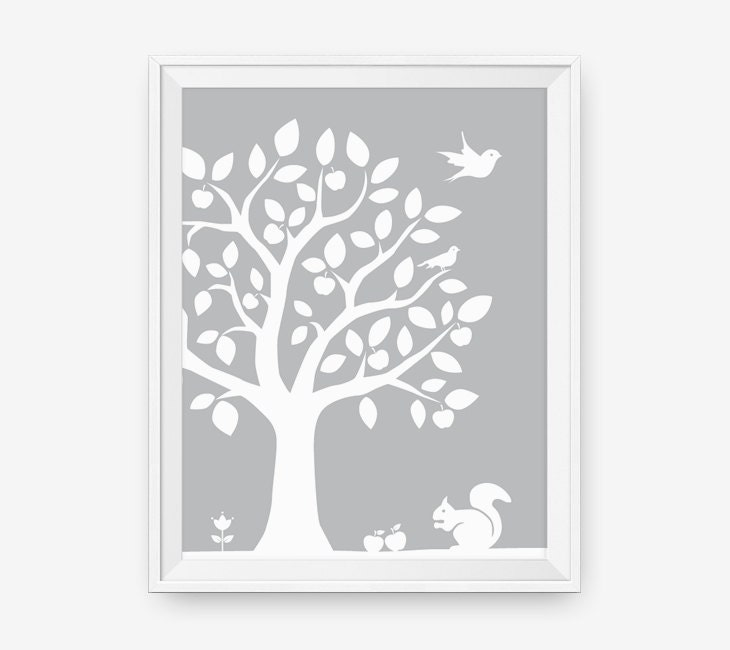 Woodland Nursery Wall Decor : Sale kids wall art woodland nursery tree decor by