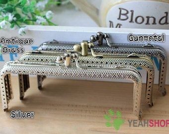 Rectangle Double Clips Embossed Purse Frame - 10cm / 3.9 inch (RPF-41) - Select a Color