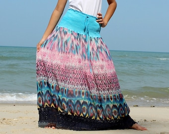 A Line Maxi Skirt Floral Long Skirt Party Women Skirt Gifts Idea Skirt Ladies Skirt Chiffon Summer Wear