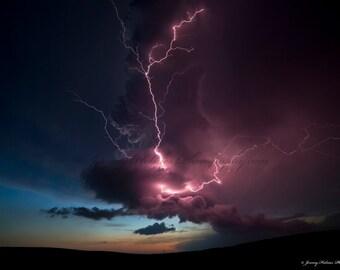 Fine Art Print of an amazing supercell thunderstorm with lightning in Nebraska