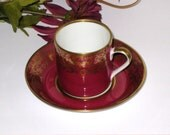 Reichenbach Royal Red / Burgundy and Gold Demitasse Cup & Saucer / German Democratic Republic / GDR