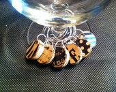 Cork Wine Charms Black and Brown Zebra, Polka Dot, Love Word Collage Drink Rings Tags Upcycled and Repurposed