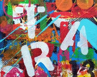 ART # 3, Original Abstract Art, Urban Art, 4x4 Canvas, Acrylic Painting, Wall Art Decor