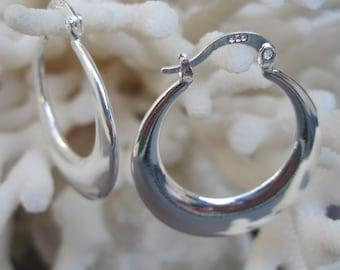 Round Flattened n Tapered Sterling Silver Hoop Earrings