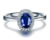 Blue Sapphire Halo Engagement Ring Settings 14k White Gold or 14k Yellow Gold Natural Diamonds