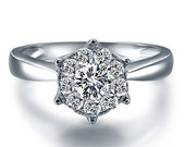 Cluster Settings Round Shape Diamond Engagement Ring 14k White Gold or Yellow Gold Art Deco Diamond Ring