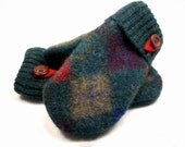 Wool Mittens ARGYLE GREEN KHAKI Felted Sweater Wool Polar Fleece Lined Upcycled